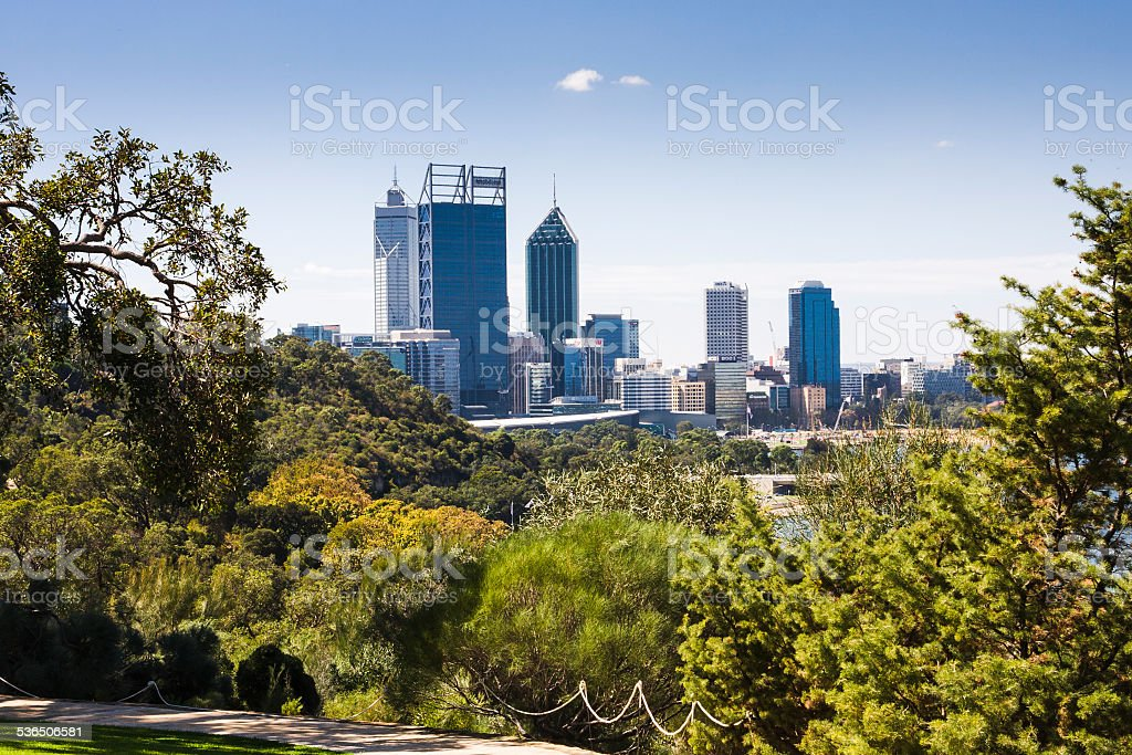 Perth city central business district in Western Australia stock photo