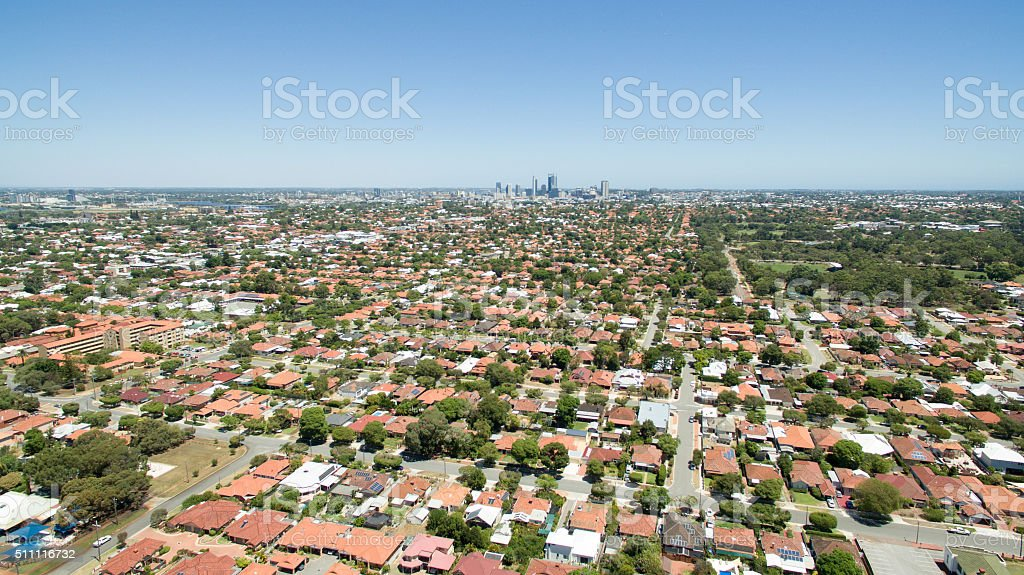 Perth City from Bedford stock photo