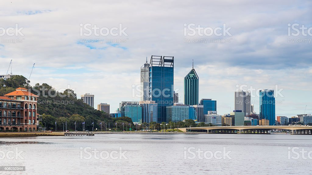 Perth City from Mounts Bay Road stock photo