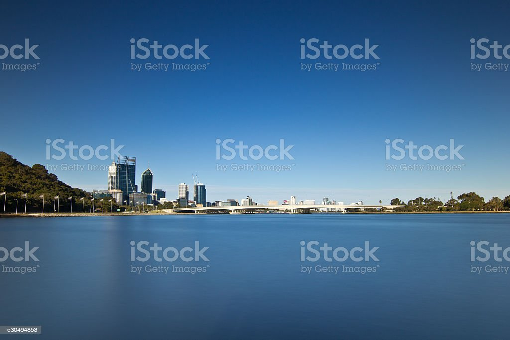 Perth City from the Swan Brewery stock photo