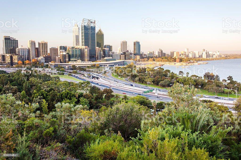 Perth city skyline and main road stock photo