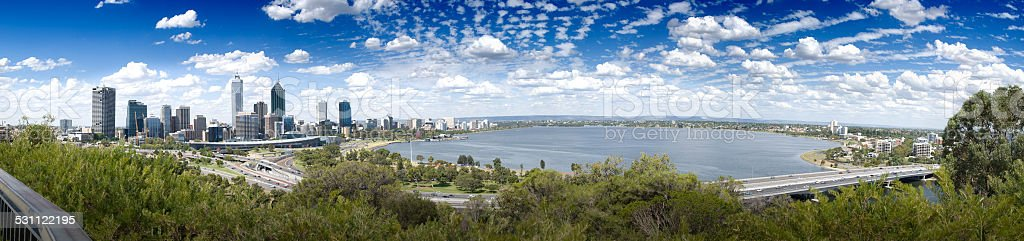 Perth City view from Kings Park stock photo