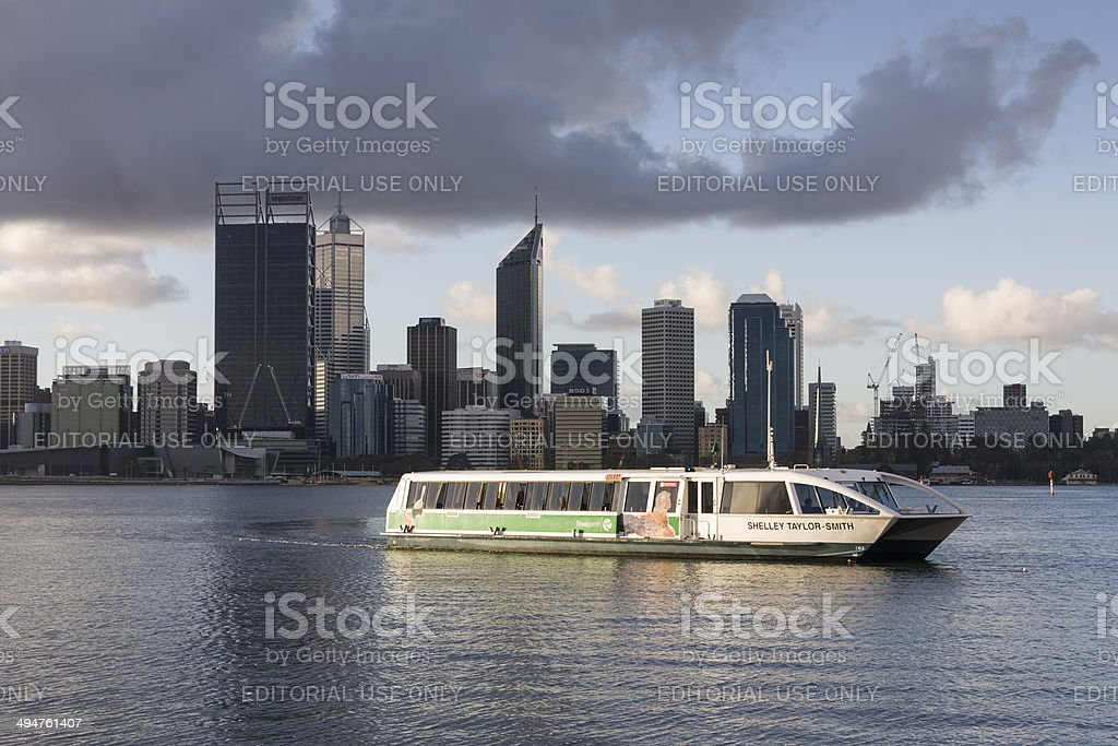 Perth Ferry Crossing with the cbd buidings in the background stock photo