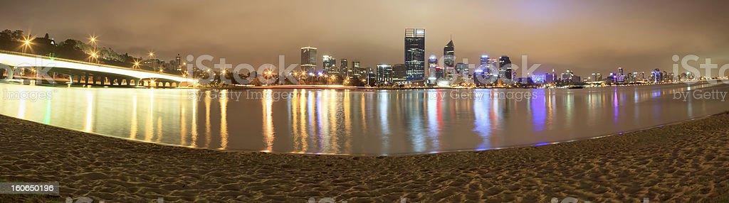 Perth Night Skyline Panorama stock photo