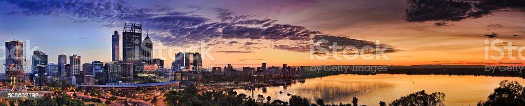 Perth Park CBD River yellow sunrise stock photo