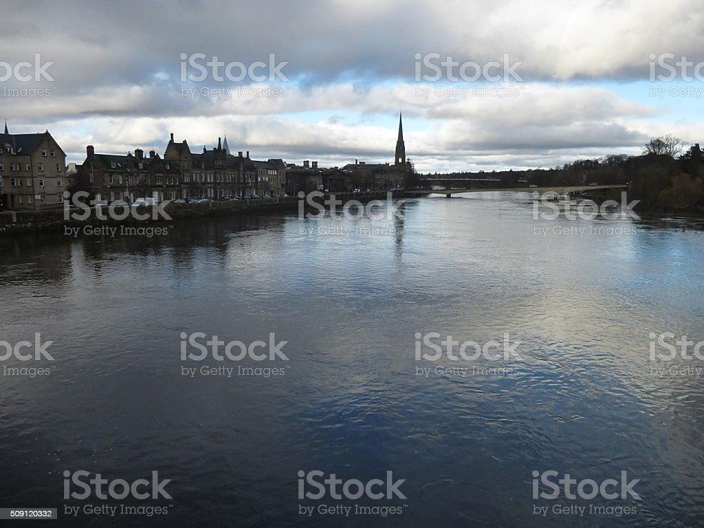 Perth Scotland - city on the River Tay stock photo