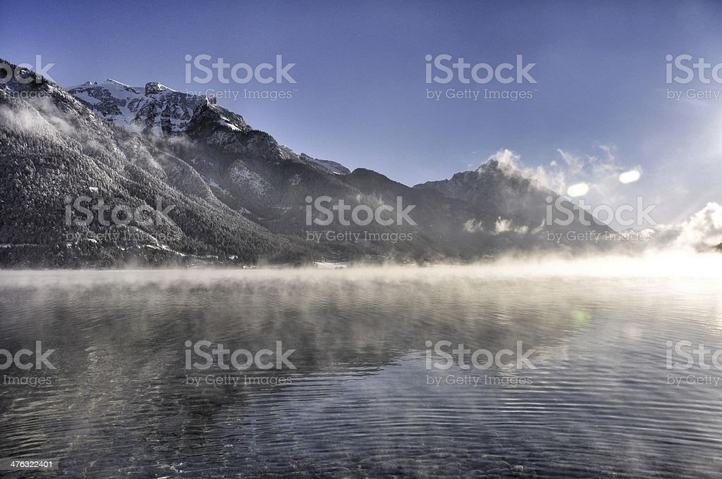 Pertisau achensee in the mist stock photo