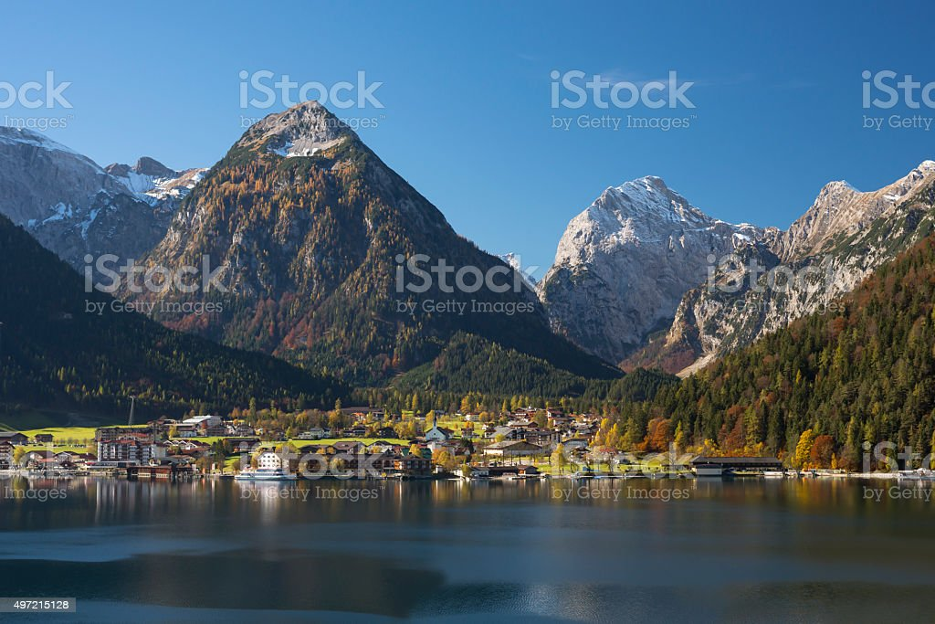 Pertisau at lake Achensee in Autumn stock photo