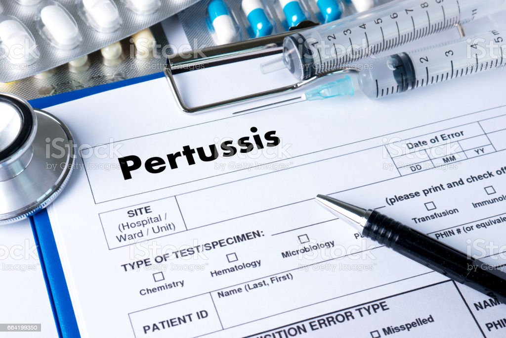 Pertussis  doctor hand working Professional Medical Concept stock photo