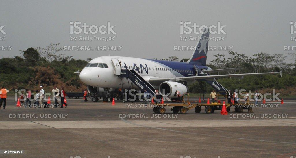 Peru: LAN Airlines Airbus 319 at Puerto Maldonado stock photo