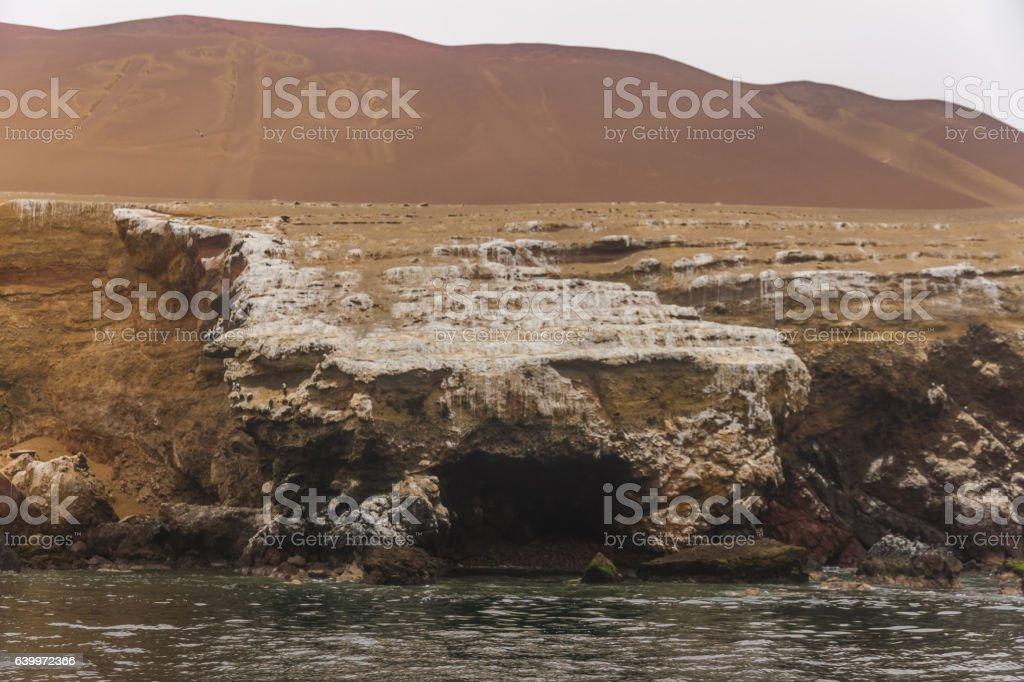 Peru, Paracas, Ballestas Islands. 'El Candelabro'. stock photo
