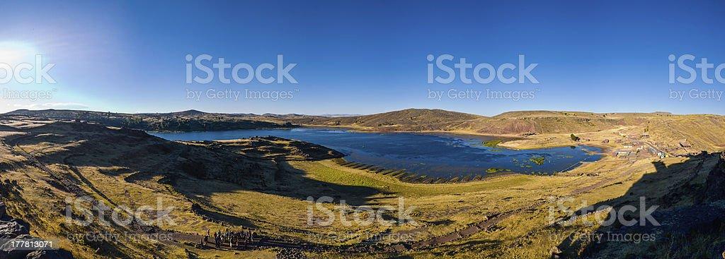 Peru Sillustani panorama late afternoon deep sun royalty-free stock photo