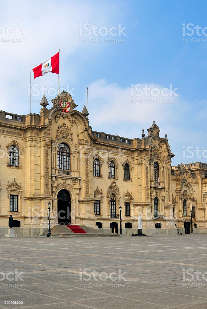 Peru: the Government Palace in Lima stock photo