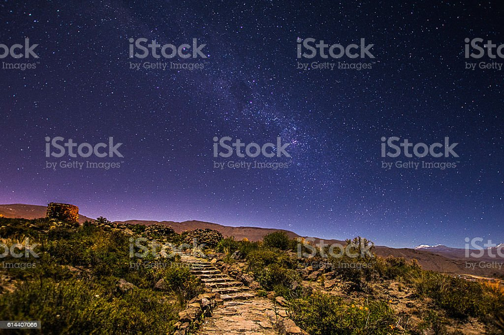 Peru Under the Milky Way stock photo