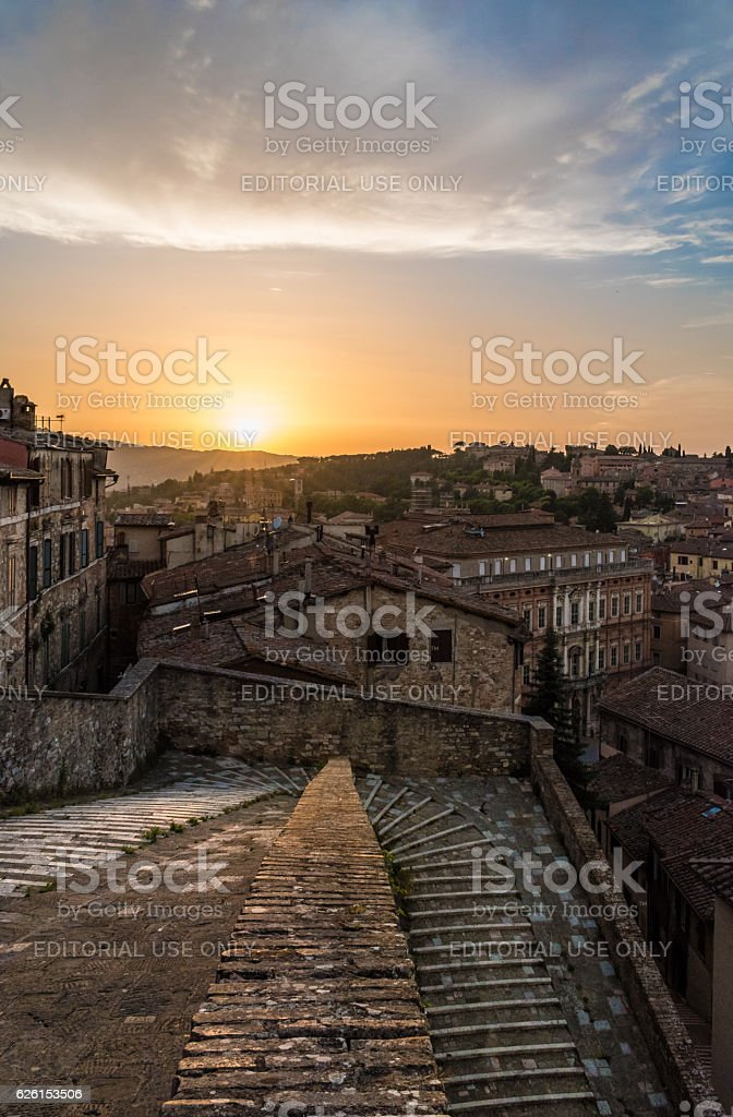 Perugia (Italy) - A view of historic center stock photo