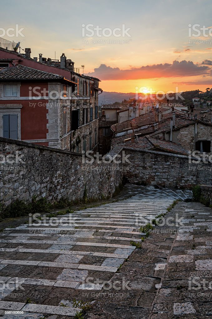 Perugia (Umbria) panorama from Porta Sole at sunset stock photo