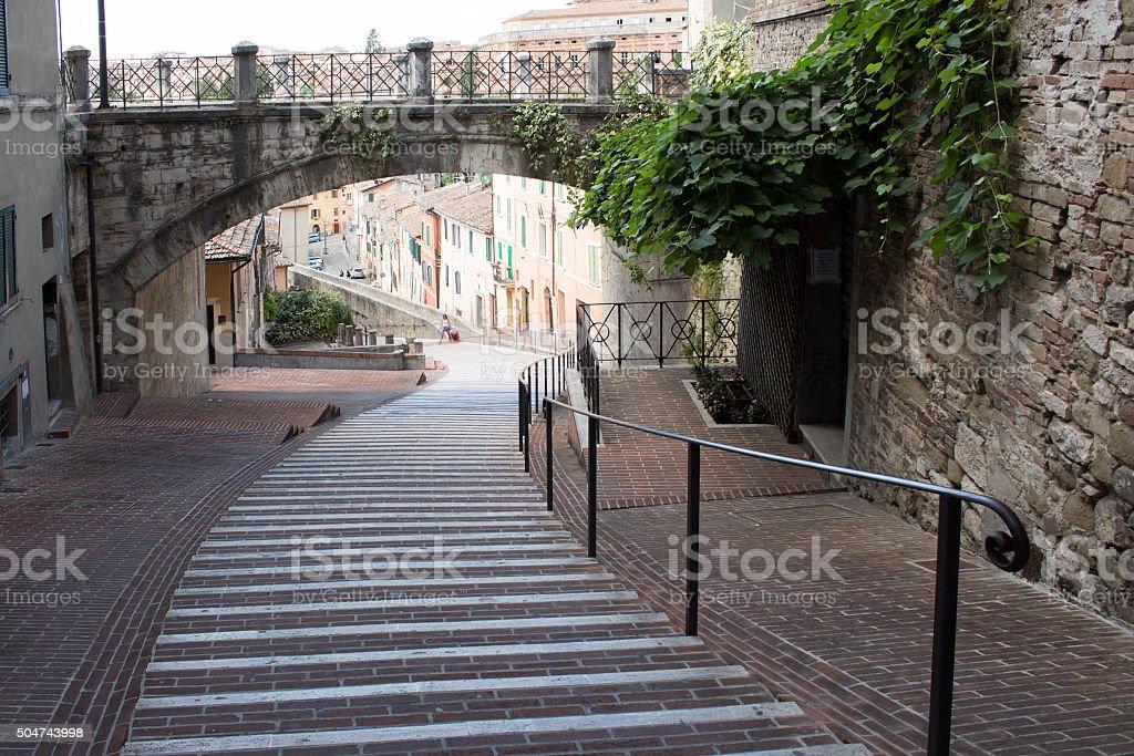 Perugia - panoramic view of the ancient aqueduct stock photo