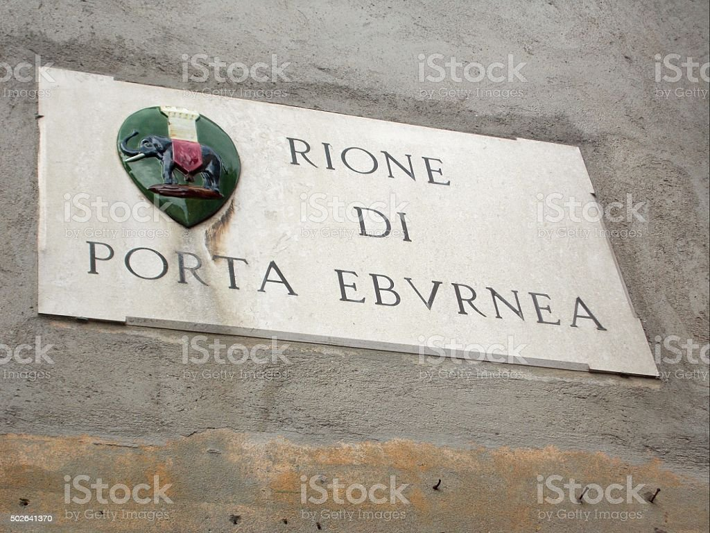 perugia - street sign with the name of the rione stock photo
