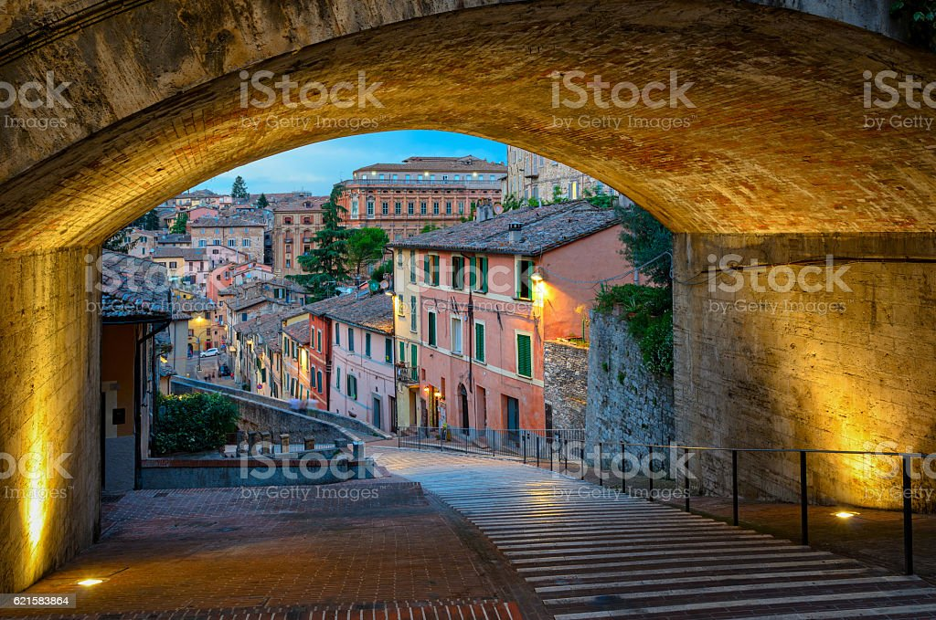 Perugia Via dell Acquedotto stock photo