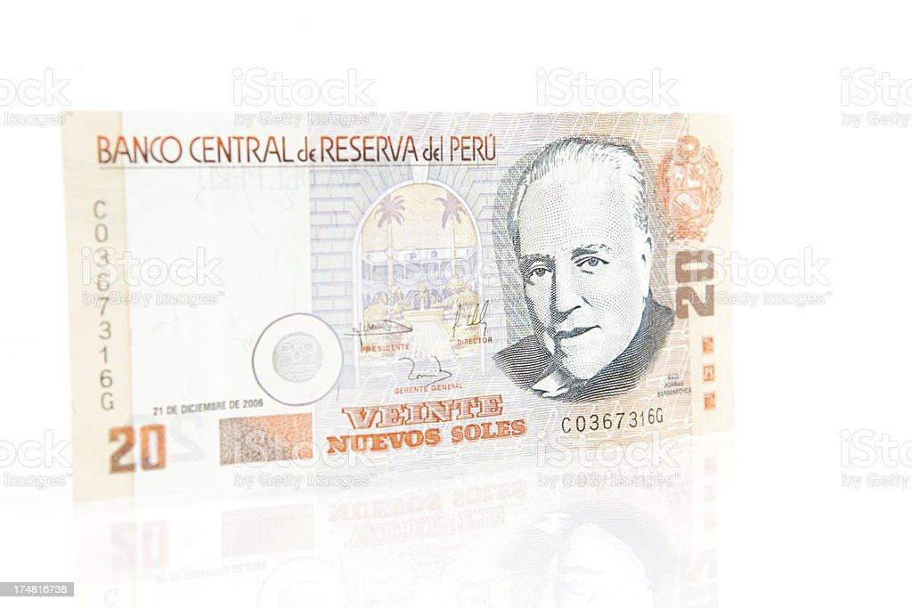 Peruvian 20 Nuevos Soles Note stock photo