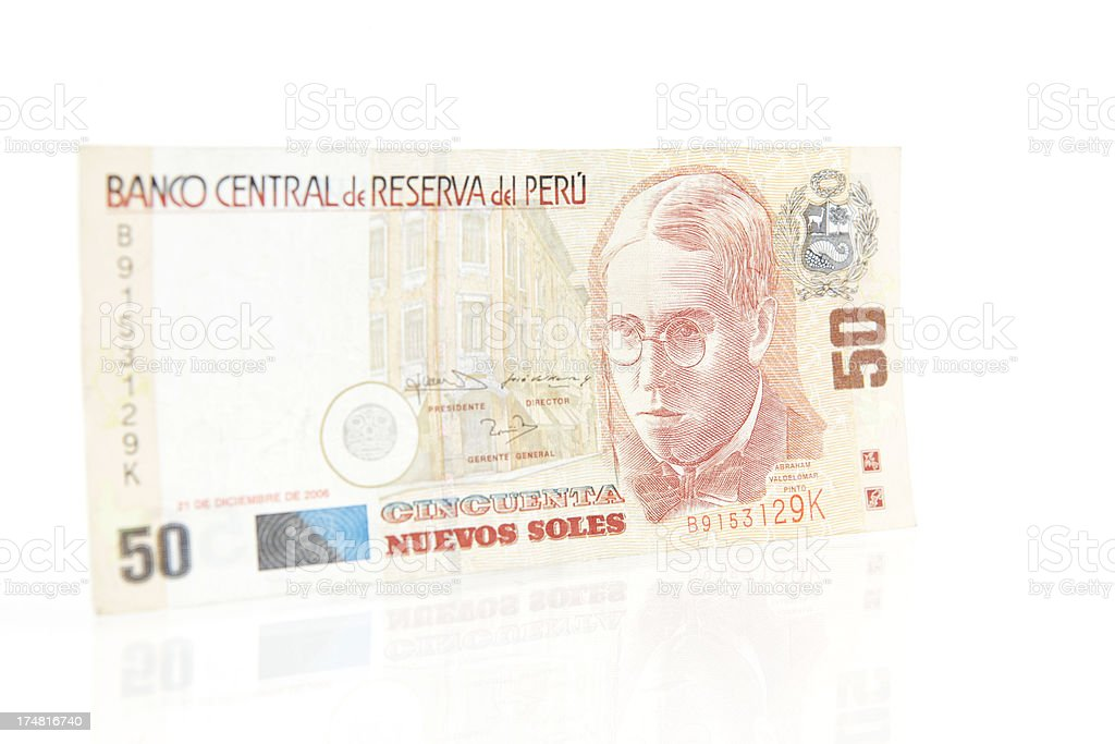 Peruvian 50 Nuevos Soles Note royalty-free stock photo