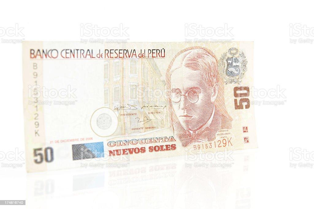 Peruvian 50 Nuevos Soles Note stock photo