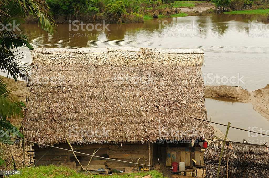 Peruvian Amazonas, Indian settlement royalty-free stock photo