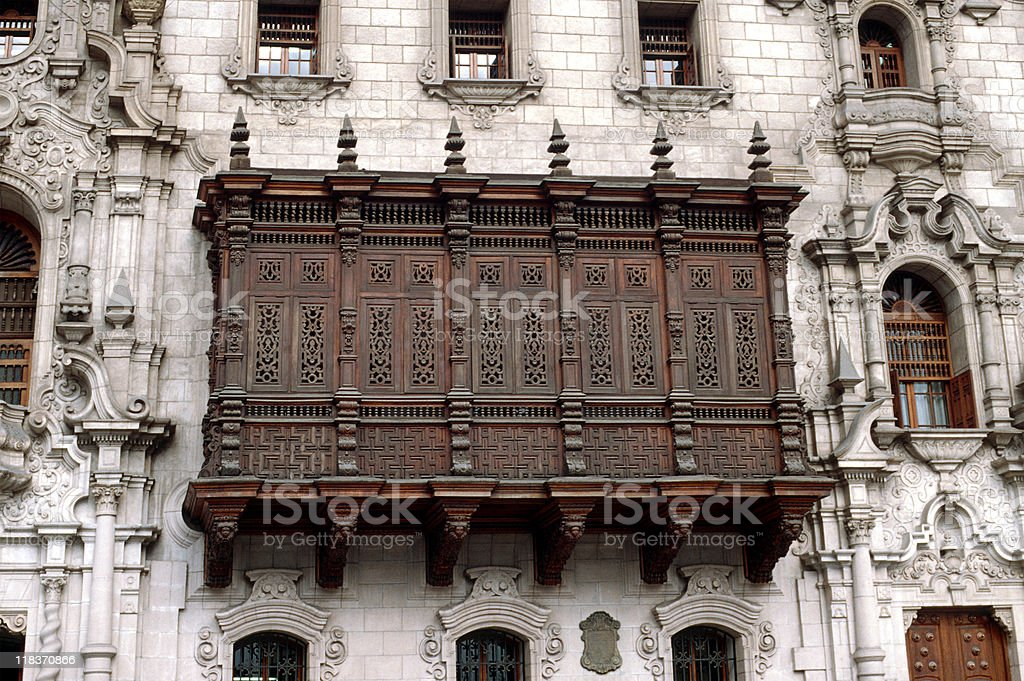 peruvian balcony royalty-free stock photo