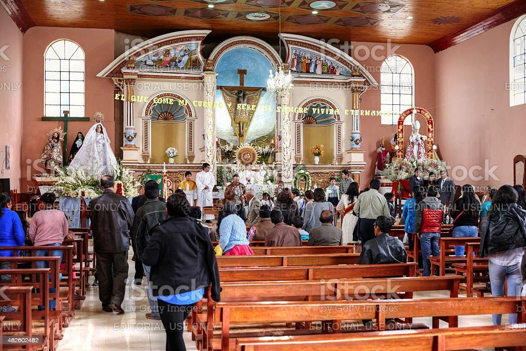 Peruvian celebration of Little Jesus of Prague stock photo