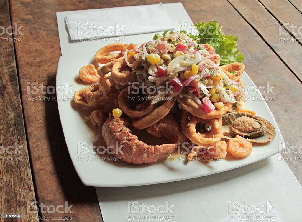 Peruvian chicharrones seafood stock photo