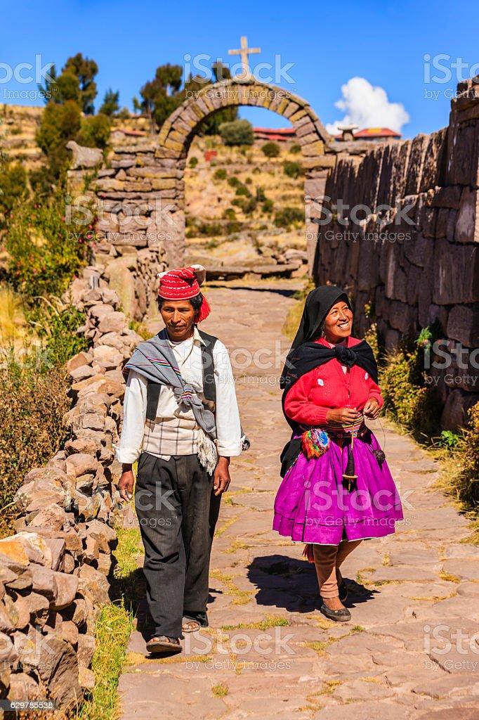 Peruvian couple on Taquile Island, Lake Titicaca, Peru stock photo
