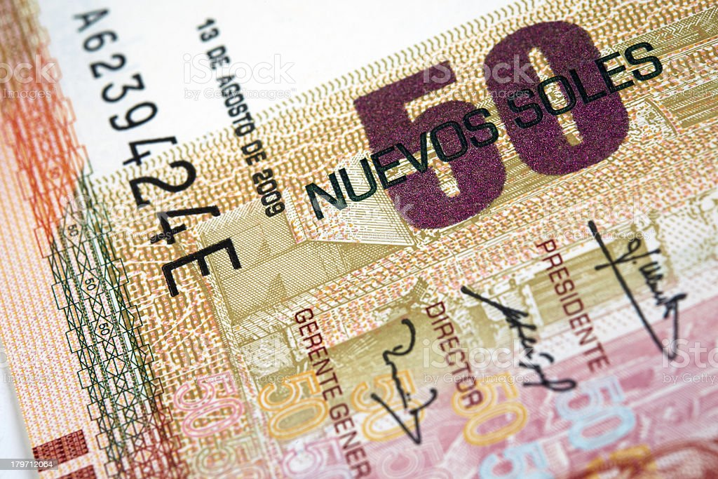 Peruvian Currency royalty-free stock photo