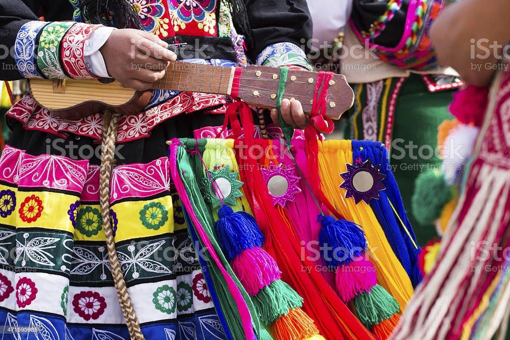 Peruvian dancers at the parade in Cusco. stock photo