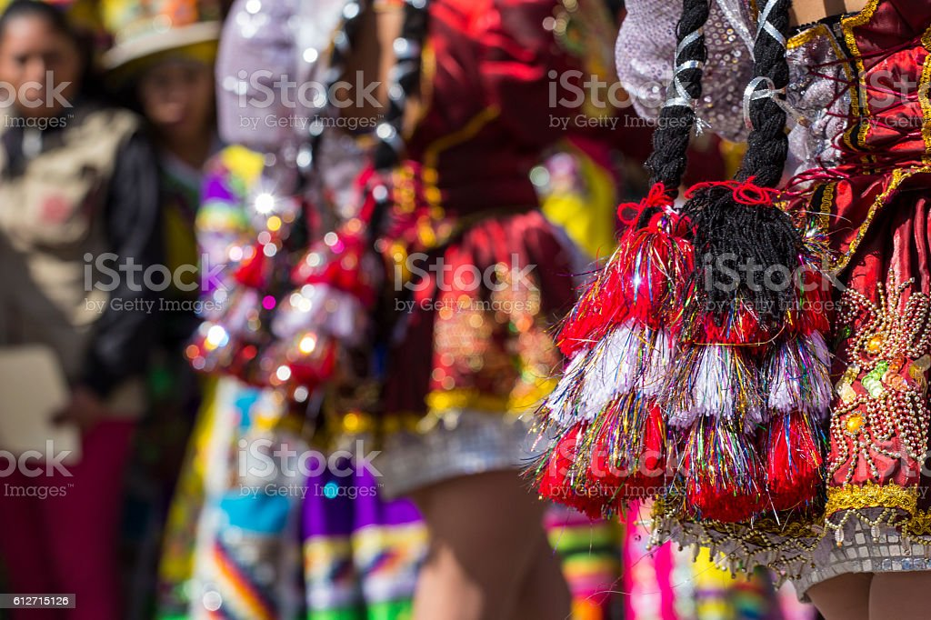 Peruvian dancers at the parade in Cusco. stock photo