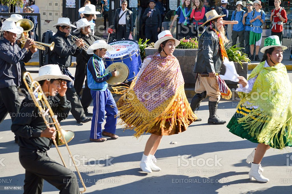 Peruvian dancers during street parade in Cusco stock photo