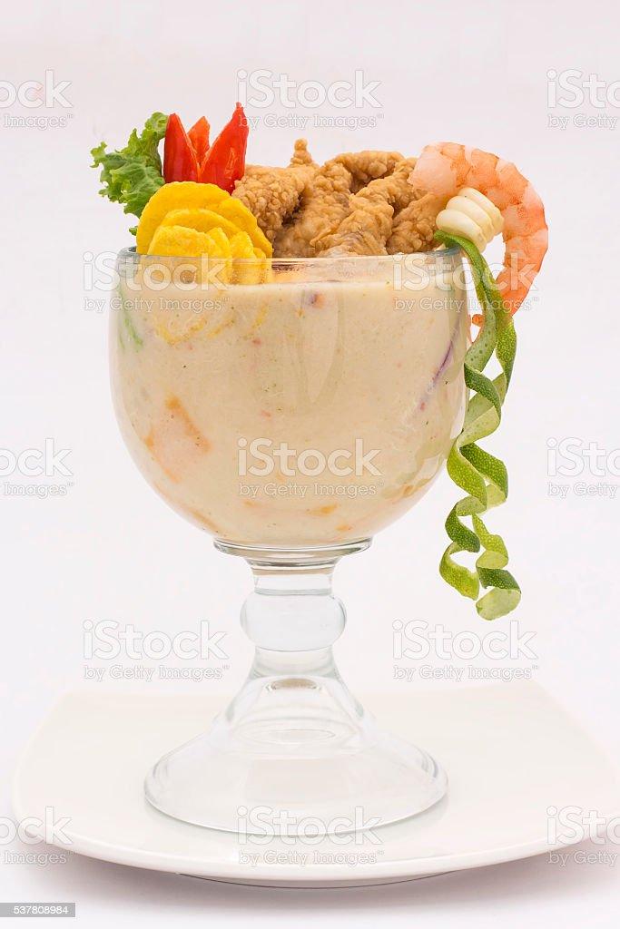 Peruvian dish: Ceviche called 'Leche de Tigre Caretilero', Cebiche, fish. stock photo