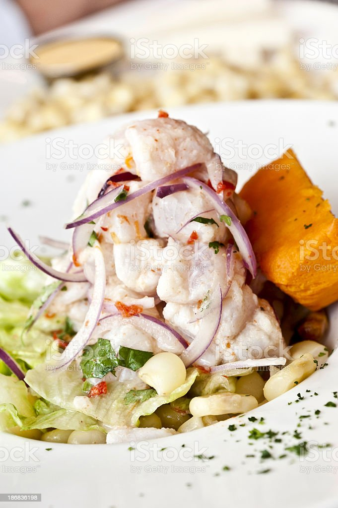 Peruvian Fish ceviche stock photo