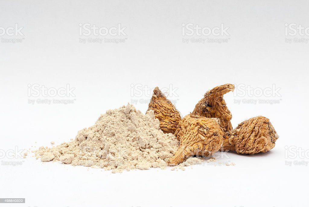Peruvian ginseng or maca (Lepidium meyenii), dried root and  pow stock photo