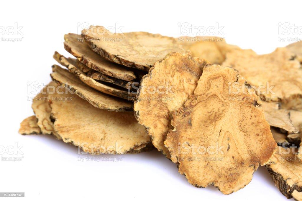 Peruvian ginseng or maca (Lepidium meyenii), dried root and pow   ,slice stock photo