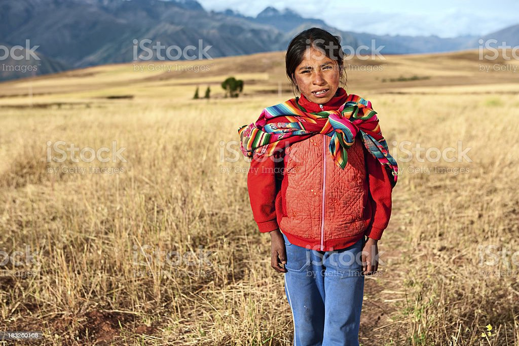 Peruvian girl wearing national clothing, The Sacred Valley, Cuzc stock photo