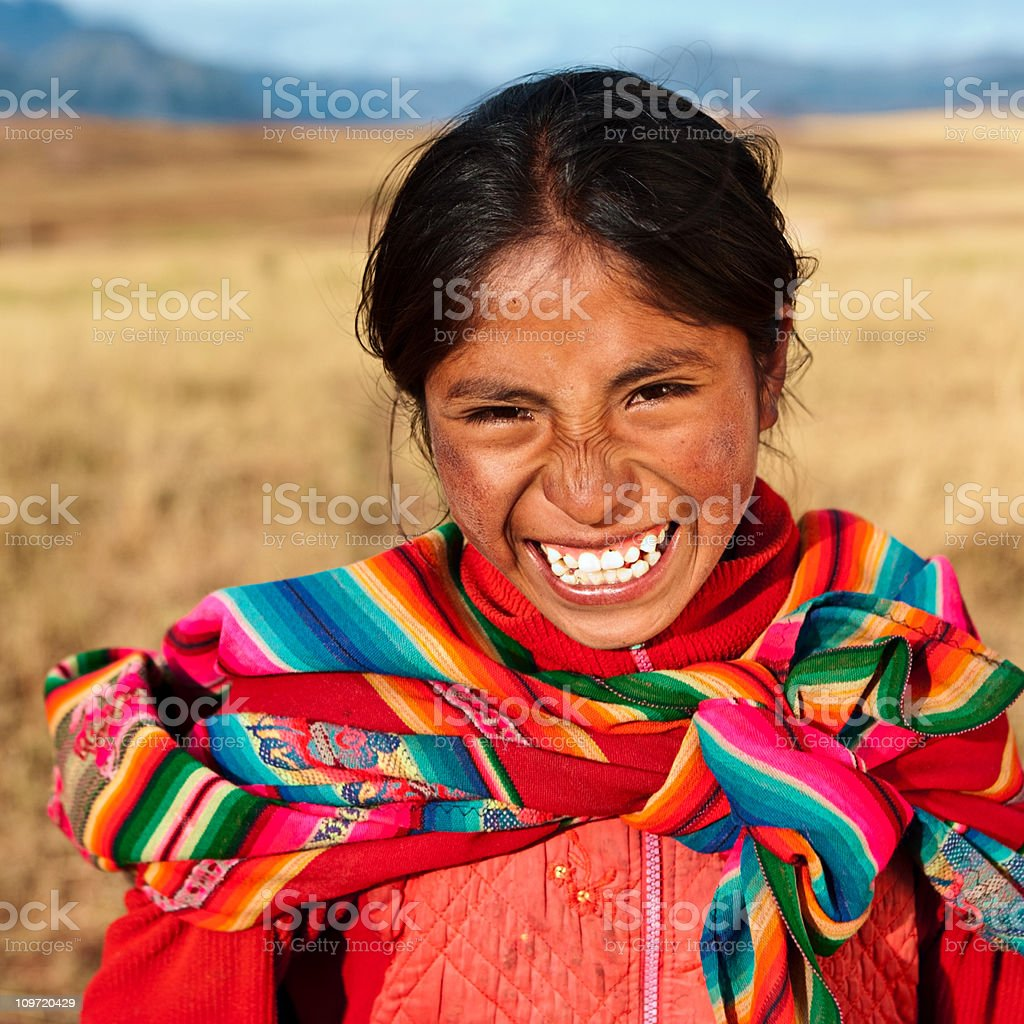 Peruvian girl wearing national clothing, The Sacred Valley stock photo
