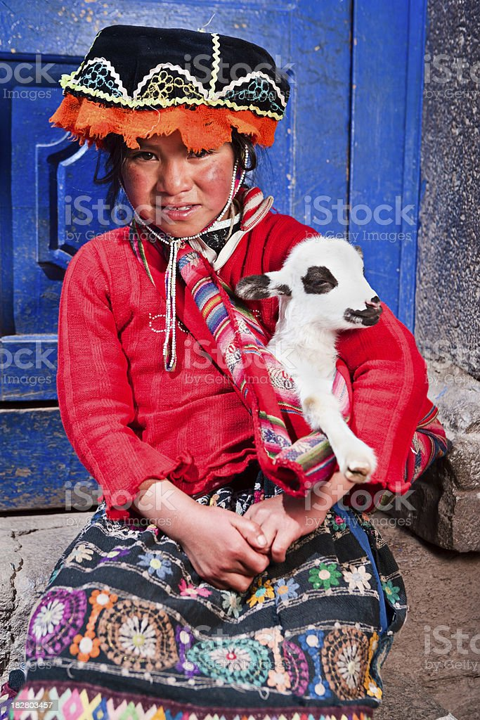 Peruvian girl wearing national clothing, The Sacred Valley royalty-free stock photo