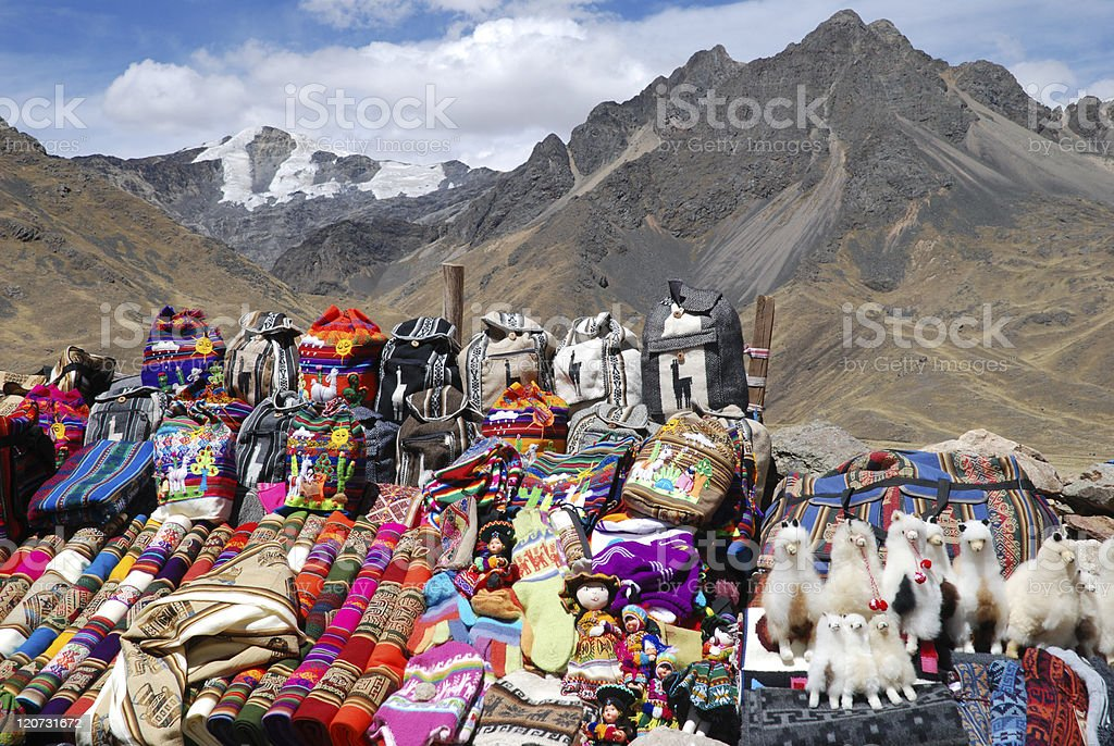 Peruvian Handicrafts in the Mountains royalty-free stock photo