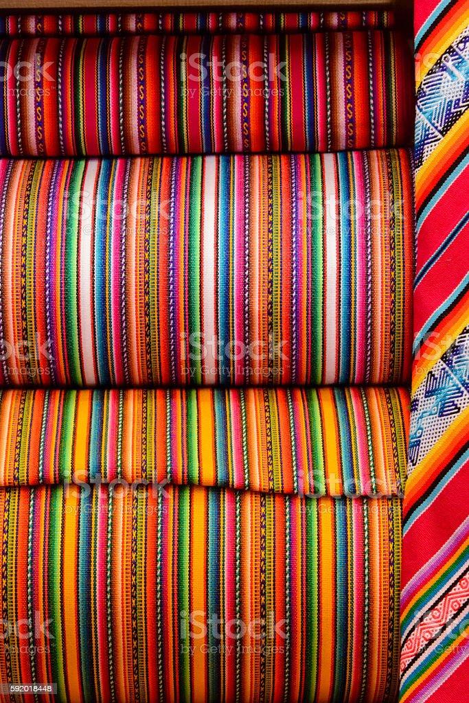 Peruvian handmade colorful fabrics stock photo