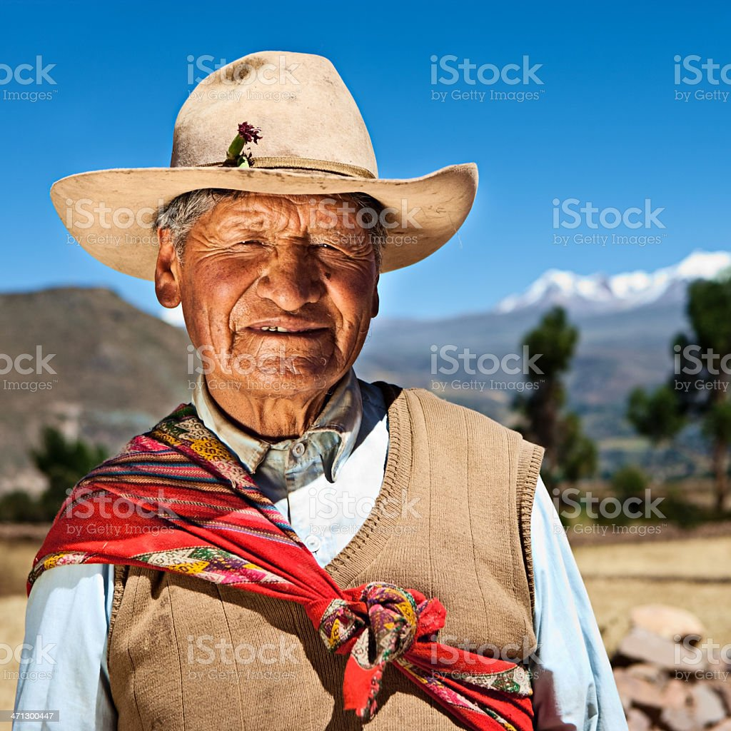 Peruvian man in national clothing, Chivay, Peru royalty-free stock photo