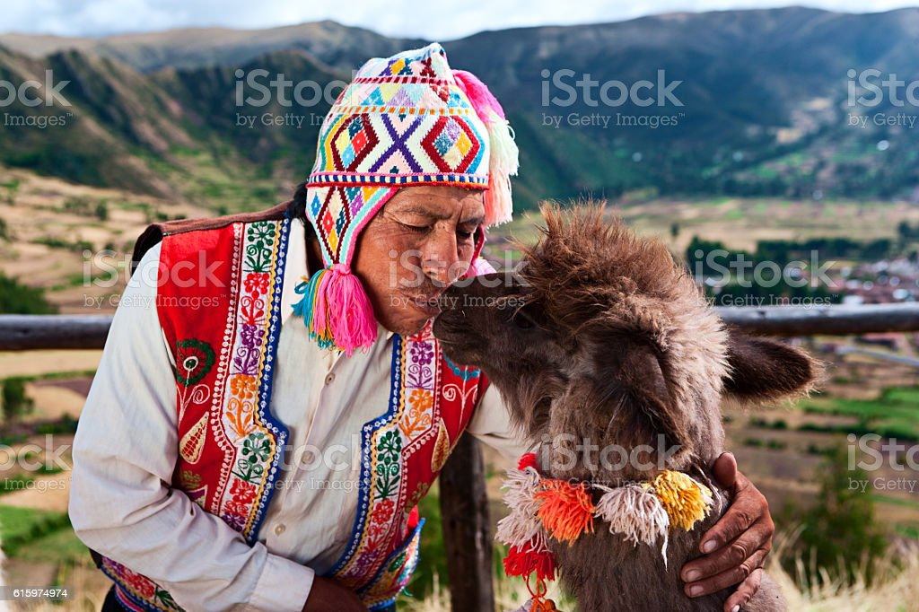 Peruvian man kissing llama near Pisac, Sacred Valley, Peru stock photo