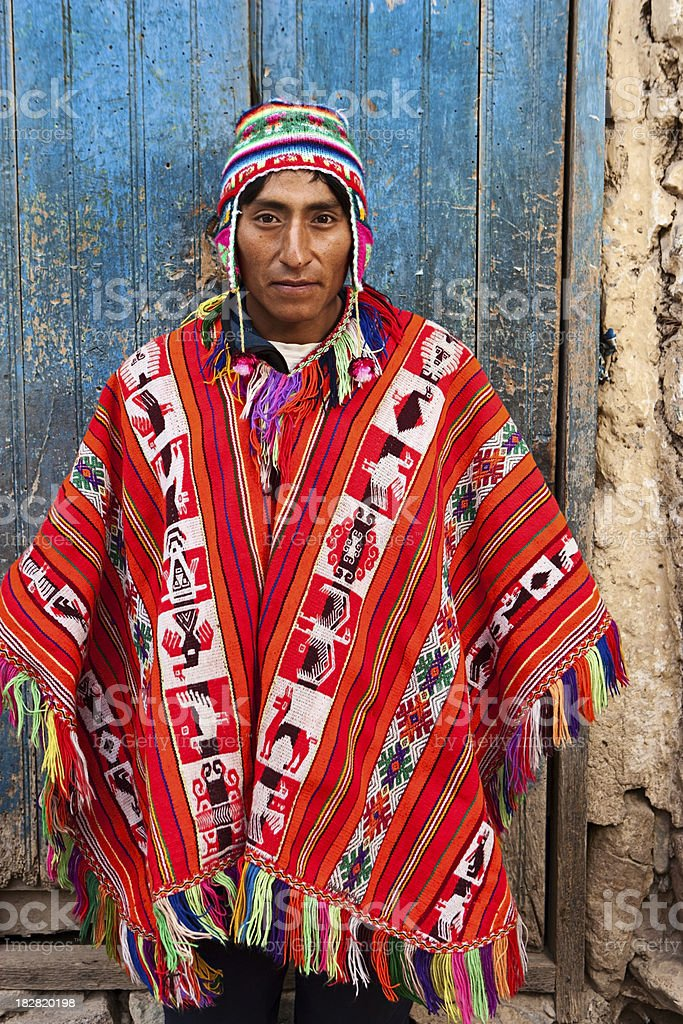 Peruvian man wearing national clothing, The Sacred Valley, Cuzco stock photo