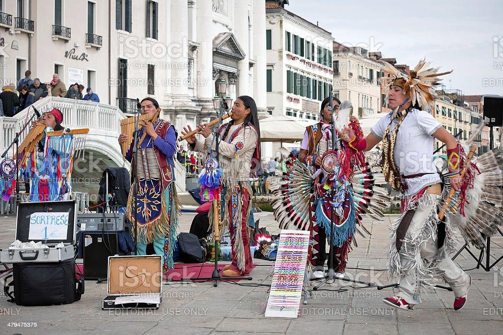 Peruvian Musicians at Venetian Carnival XII royalty-free stock photo