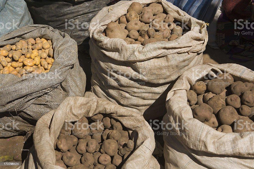 Peruvian Potatoes in Market royalty-free stock photo