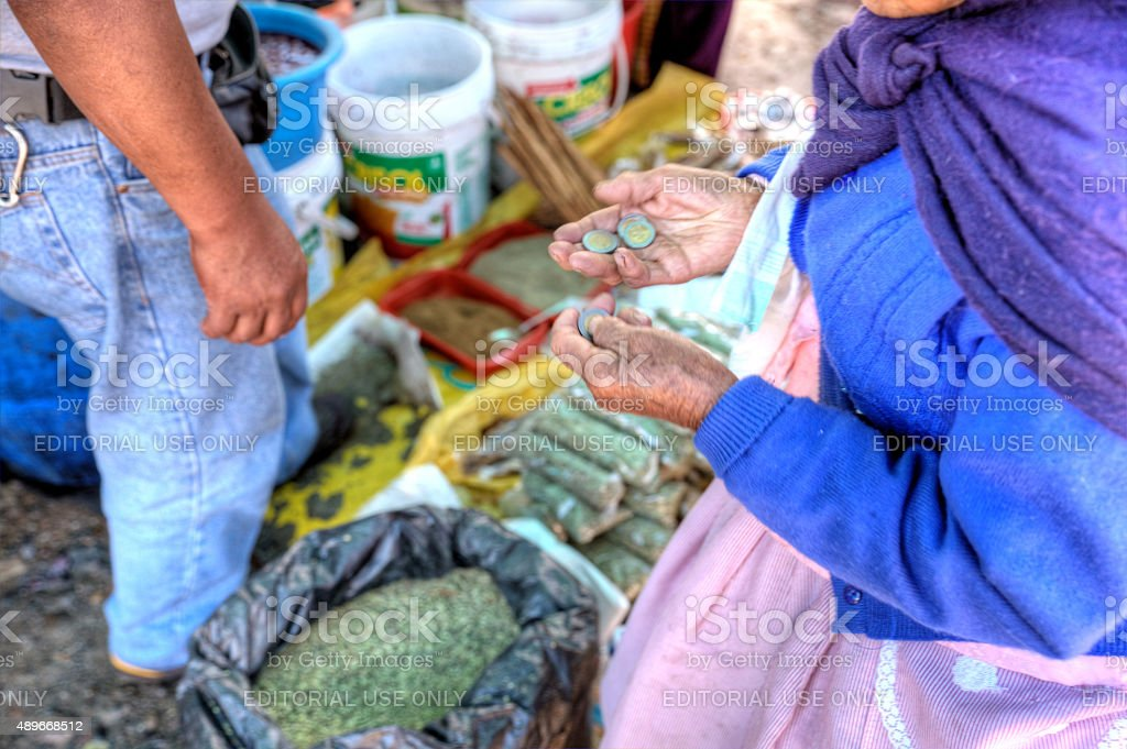 Peruvian street market trader in Yungay stock photo